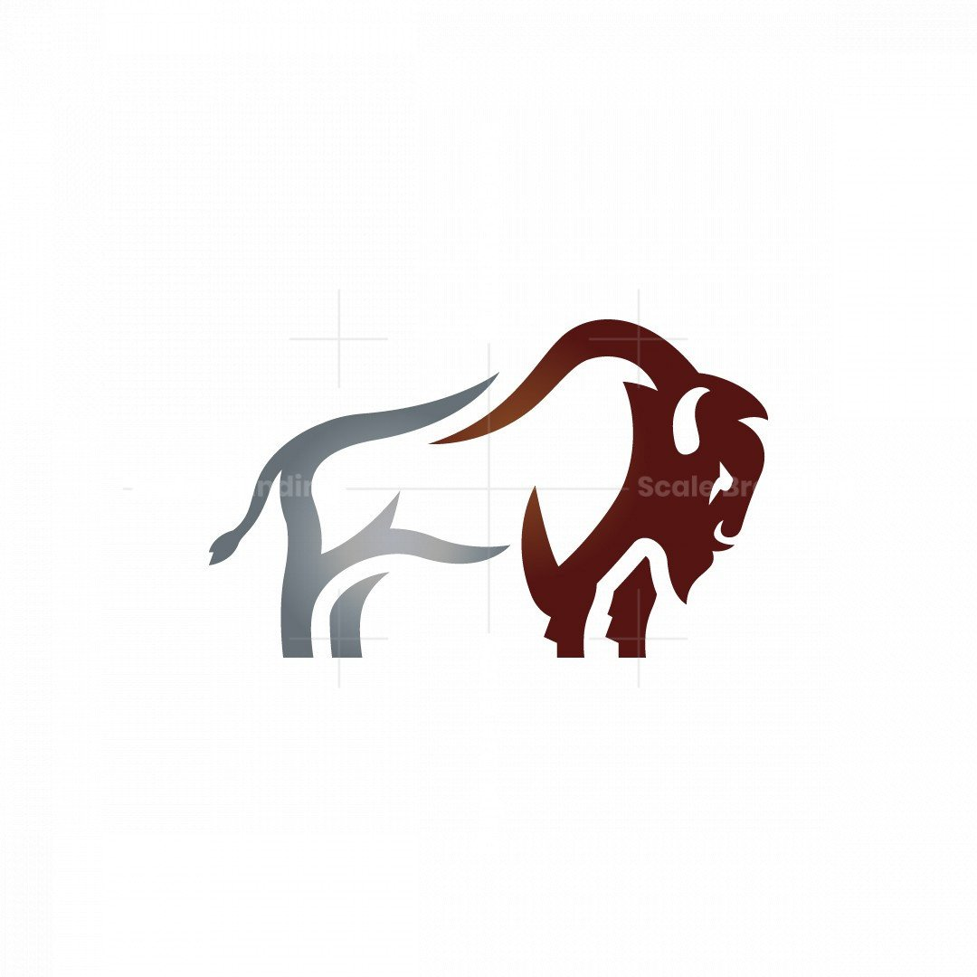 Silver Brown Bison Logo Buffalo Logo