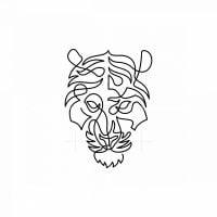 One Line Tiger Icon Logo