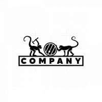 Two Monkeys And A Barrel Icon Logo