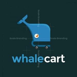 Illustrative Whale Shopping Cart Logo