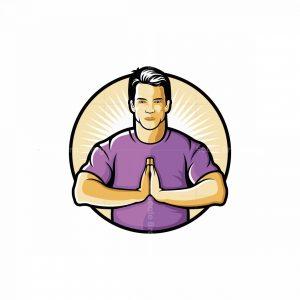 Man Doing Yoga Mascot Logo