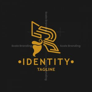 Letter R Bearded Head Logo