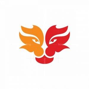 Lion Face Fire Logo