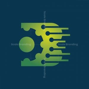 B Letter Technology Gear Logo
