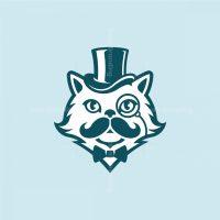 Gentleman Persian Cat With Moustache Logo