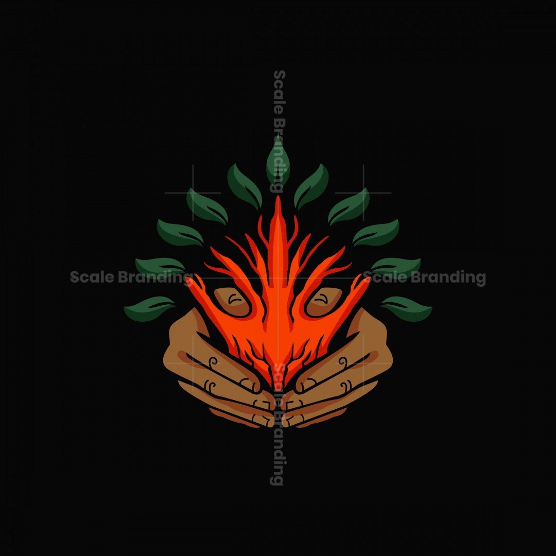 Hand Tree Leaves Logo