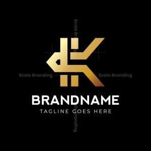 Golden K Letter Logo