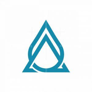 One Line Letter A Droplets Logo