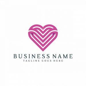 Abstract Letter V Love Logo