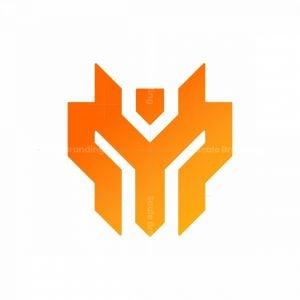 Letter M Dragon Head Monogram Logo