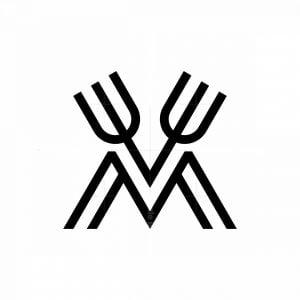 Letter M Fork Logo