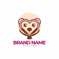Love Cute Girl Monkey Logo