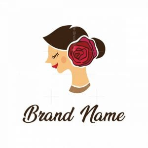 Woman With Rose In Hair Logo