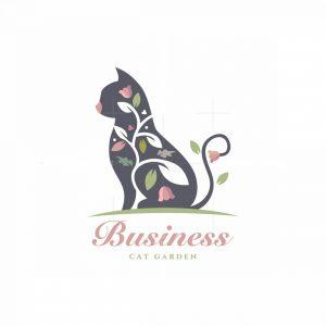 Cat Garden Pet Store Floral Logo