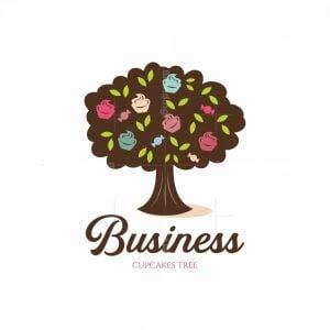 Cupcakes Tree Symbol Logo