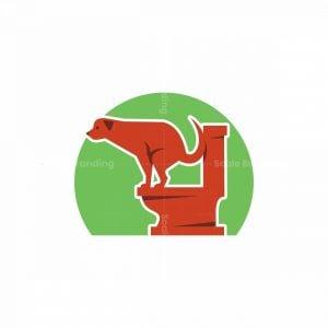 Dog Using Toilet Mascot Logo
