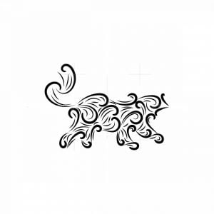 Abstract Fire Tiger Logo