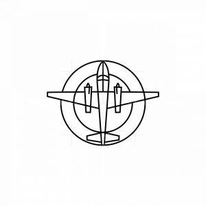 Line Art Airplane Icon Logo