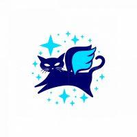 Flying Cat Mascot Logo