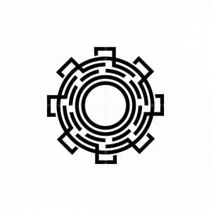 Gear Maze Icon Logo