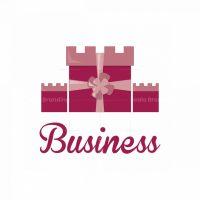 Gift Box Castle Symbol Logo