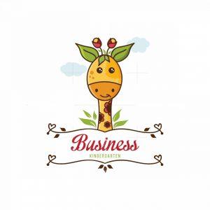 Giraffe Garden Kids Kindergarten Mascot Logo
