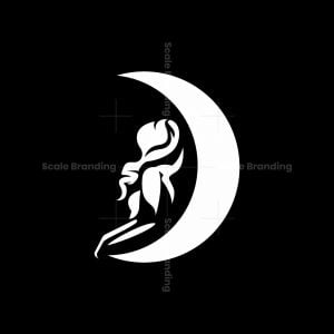 Woman Relaxing On The Moon Logo