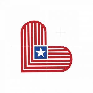 Heart Star Flag Logo