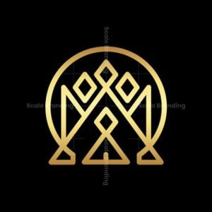 Letter M Or Gold Crown Logo