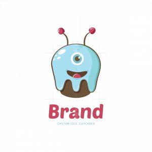 Monster Cupcake Bakery Mascot Logo