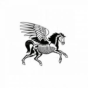Skeleton Pegasus Mascot Logo