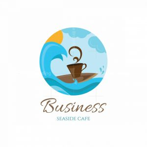 Surfing Coffee Seaside Cafe Pictorial Logo