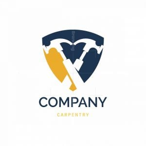 Two Hammers Carpentry Symbol Logo