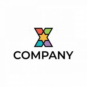 Colorful X Hexagram Star Logo