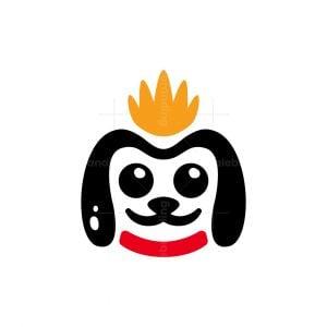 Cute Dog Crown Logo