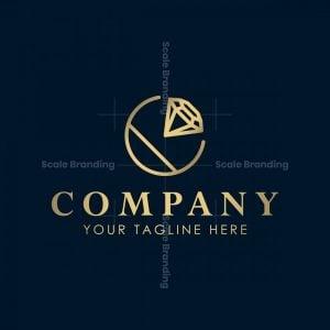 Golden Letter C Diamond Ring Logo