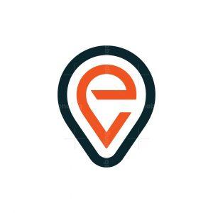 Letter Ev Map Pin Logo