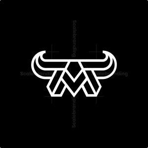 Letter M Bull Horn Logo