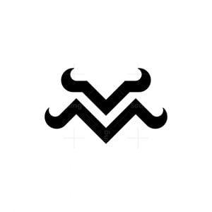 Letter Mv Bull Horn Logo