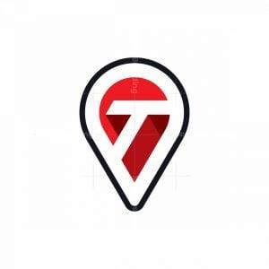 Letter T Map Pin Logo