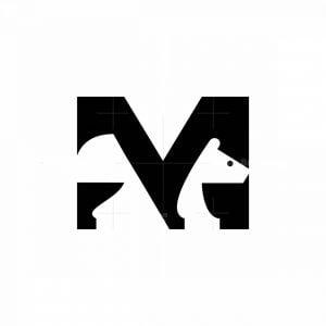 M Letter Bear Icon Logo