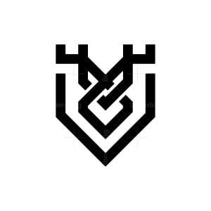 Minimalist Deer And Shield Logo