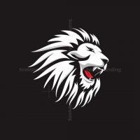 White Angry Lion Logo