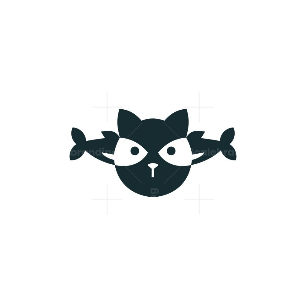 Cat And Two Fishes Icon Logo