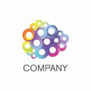 Crowd Colorful Cloud Modern Logo