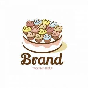 Cupcakes Cake Pictorial Logo