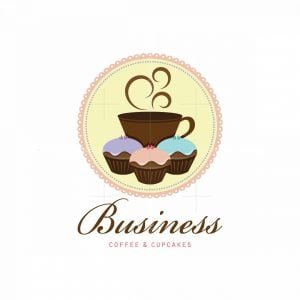 Friends Coffee Shop And Cupcakes Pictorial Logo
