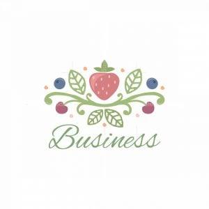 Organic Fruit Farm Floral Logo