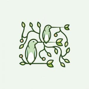 Hummingbirds Leaves Logo