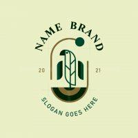 Badge Bird And Leaf Logo